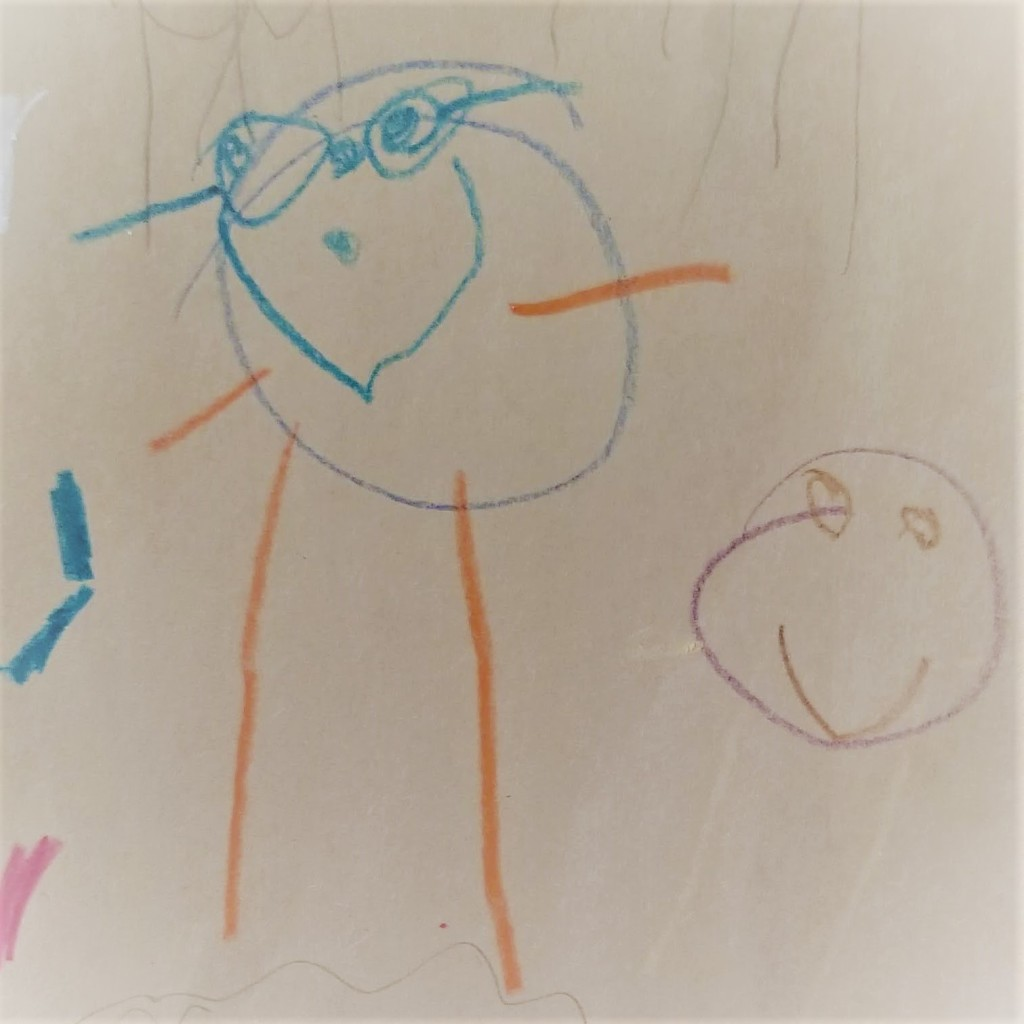 Two smiling stick figures, the taller one wearing glasses and drawn with blue and orange crayon, the smaller one drawn with purple, brown, and yellow crayon.