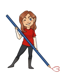 Chibi cartoon of Allie Therin holding an oversized pencil and drawing a heart.